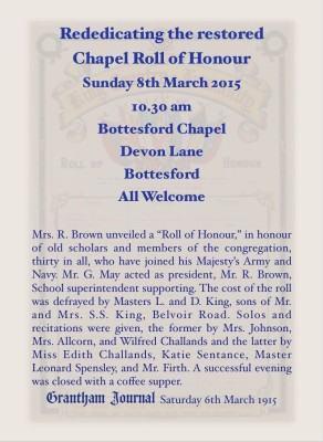 Unveiling the Bottesford Chapel Roll of Honour. Report in the Grantham Journal, Saturday 6th March 1915