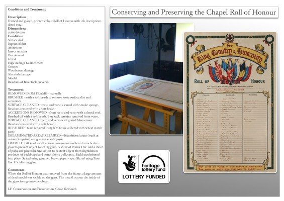 Restoring and conserving the Methodist Chapel Roll of Honour | Lorraine Finch, Great Yarmouth