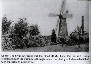 Old newspaper photograph of Barrowby Mill, owned and operated by the Swallow family. This old picture shows the windmill at Barrowby when still in working operation. None of it stands today (as far as I am aware - ed). | Grantham Journal