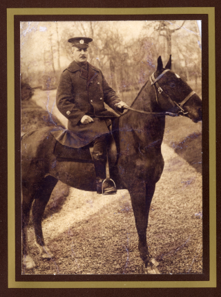 Company Sergeant Major A.B. Swallow of 470th Field Company, Royal Engineers. KIA 21st March 1918. In this picture Sergeant Major Swallow is portayed sitting on his horse at home in Barrowby. | Viv Finch