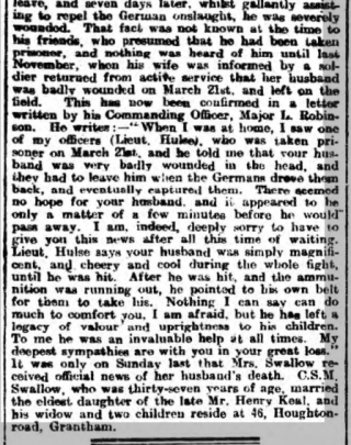 Roll of Honour - in memory of Alfred Swallow, continued, a second image showing the later part of the article. | Find My Past - Grantham Journal