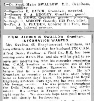 The text that accompanied the portrait photograph in the Grantham Journal, 1918. It is clear that the family did not accept that Alfred Swallow had been killed, and held on to the belief that he might have become a prisoner of war. | Find My Past