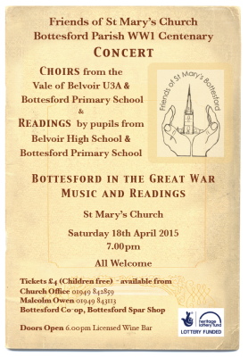 Bottesford in the Great War - Concert & readings, 18th April 2015