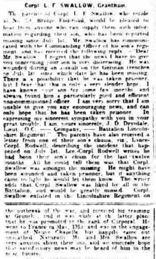 Newspaper article about Corporal Lawrence Swallow - posted missing after fighting on 1/7/1916 | Grantham Journal, 29th July 1916