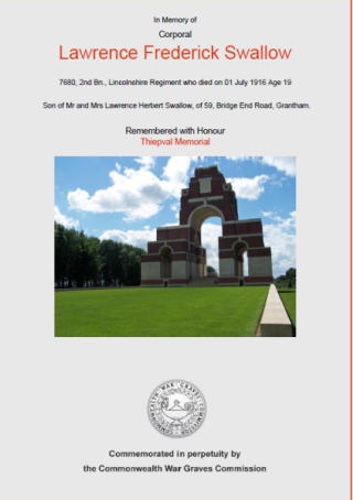 Cpl Lawrence Frederick Swallow certificate from CWGC. | Commonwealth War Graves Commission