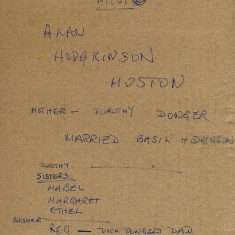 Reverse of Photograph Alan Hodgkinson's Notes | From the collection of Alan Hodgkinson
