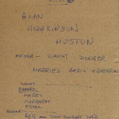 Reverse of Photograph Alan Hodgkinson's Notes   From the collection of Alan Hodgkinson
