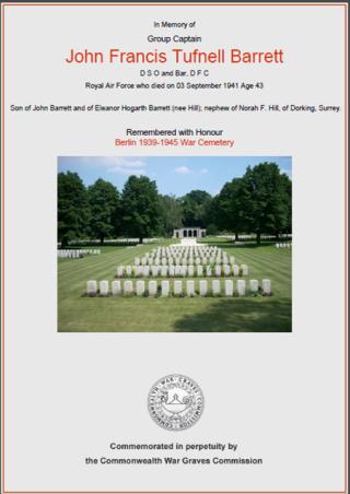 CWGC Certificate John F T Barrett | Commonwealth War Graves Commission website