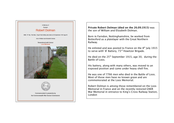 Pte. Robert Dolman, B Battery, 73rd Howitzer Brgade, Royal Field Artillery. Killed in action 25th September 1915