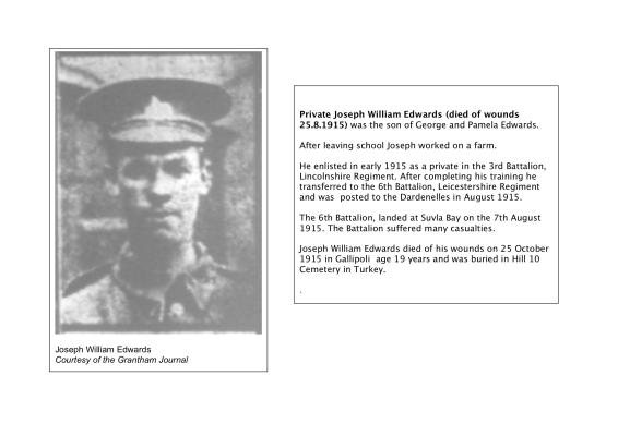 Pte. Joseph William Edwards, died of wounds on the 28th