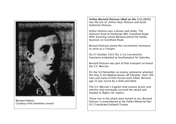 Trooper Bernard Hickson, 1/1st Lincolnshire Yeomanry, killed in action 3rd November 1915