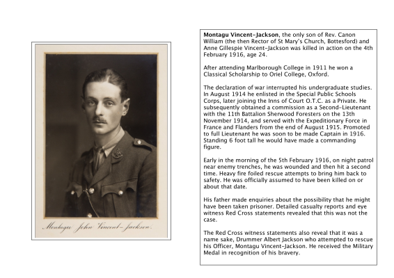 Lieutenant Montagu Vincent-Jackson, 11th Battalion Sherwood Foresters, killed in action on the 4th/5th February 1916