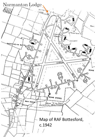 A map of the airfield as it was during WW2. The location of Normaton Lodge is also indicated - where a plane hit the roof of the farmhouse one night while the occupants were in their beds (though none of the residents were seriously hurt).