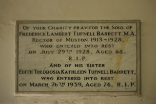 Commemorate plaque in the chancel at St John the Baptist, Muston, for Reverend Frederick Lambert Tufnell Barrett and his sister Edith Theodosia Kathleen. | Bottesford Local History Archive