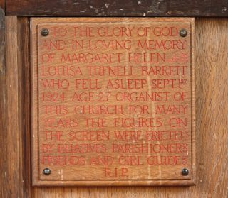 Wooden plaque attached to the chancel screen in St John the Baptist, commemorating Margaret Helen Louisa Tuffnell Barrett, 1896-1924. | Bottesford Local History Archive