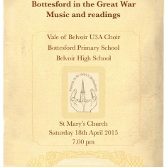 Bottesford in the Great War Concert Programme - Page 1 | Bottesford Community Heritage Group