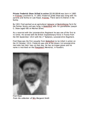 Private Fred Shaw 22nd October 1914