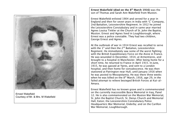 Pte. Ernest Wakefield, 1st & 2nd Battalikon Leicestershire Regiment, killed in action on the 8th March 1916
