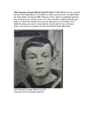 Able Seaman George Alfred Calcraft
