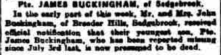 Grantham Journal 19th May 1917 - Pte. James Buckingham, of Sedgebrook. In the early post this week, Mr. and Mrs. John Buckingham, received official notification that her youngest son, Pte. James Buckingham, who was reported missing since July 3rd last, is now presumed dead. | Courtesy of the Grantham Journal