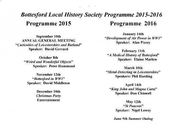 Bottesford History Society Programme 2015 - 2016