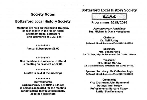 Bottesford History Society details