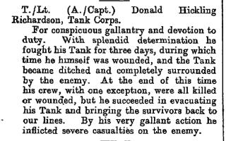 Official commendation of Acting Captain Richardson | London Gazette, 1918