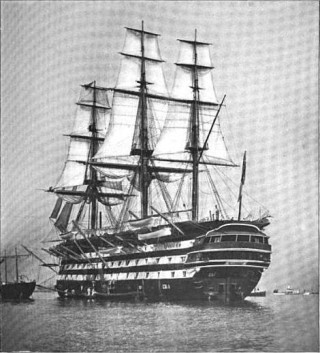 HMS St Vincent in 1897, the training ship James Schofield served on 1904-1906. |