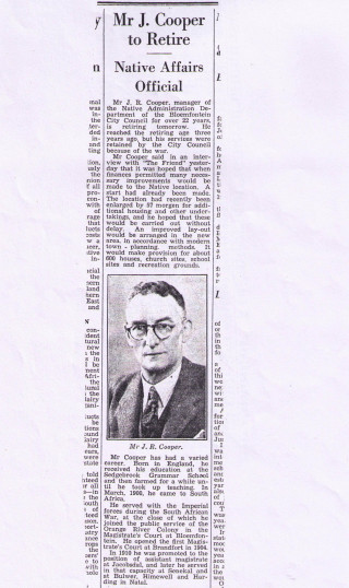 Retirement of John Richard Cooper | Press clipping