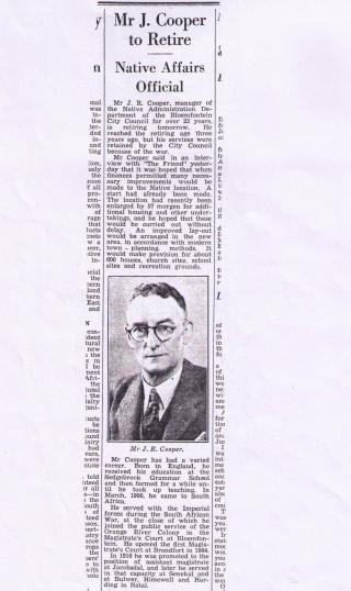 Retirement of John Richard Cooper | Press clipping