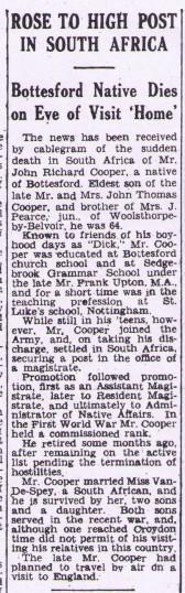 John Richard Cooper, death report | Grantham Journal