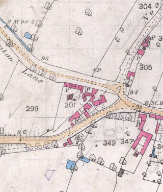 Part of a detailed OS map of Bottesford, showing the terrace of houses that stood on Orston Lane before WW1. | Project archive