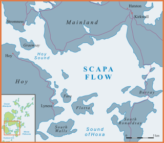 Outline map of Scapa Flow and the Hoy Sound. |