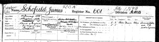 Part of James James Schofield, From the Register of Royal NavaJames Schofield, in the Register of Royal Naval Seamen 1899-1919, showing the three entries for his next-of-kin. Seamen 1899-1919 | Find My Past