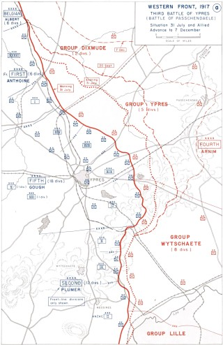 Map of the Battle of Paschendaele, 1917. | Wikipedia