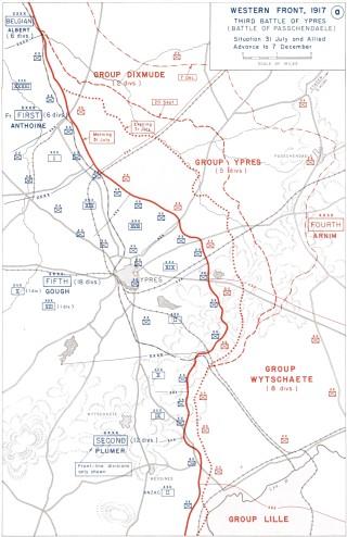 Map of the Battle of Paschendaele, 1917. | Wikipedia