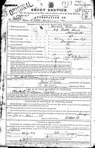 Attestation paper of Herbert William Porter, 10/12/1915 | The National Archive