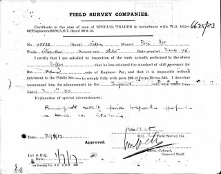 Field Survey Company form, setting out the case for granting Herbert William Porter superior engineer pay in 1917. | The National Archive