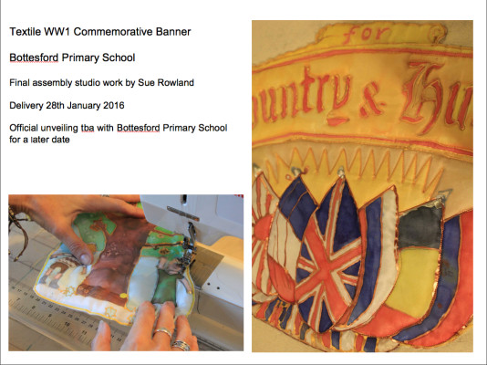 Sue Rowland assembling the Bottesford Primary School WW1 Commemorative Banner - January 2016