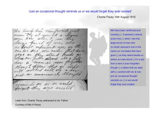 Charles Pacey's remembering 'pals' in his letter home, 14th August 1915 1915 | From the collection of Mrs A. Pacey