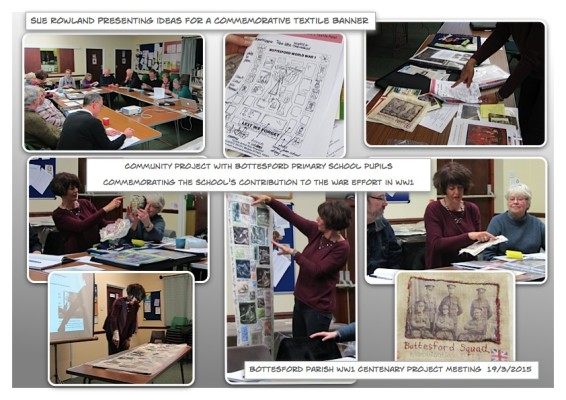 Sue Rowland Presenting the design brief to Bottesford Parish WW1 Centenary Project volunteers 19/3/2015