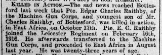 Edgar Charles Raithby Obituary, Grantham Journal 10th November 1917 | Courtesy of The Grantham Journal