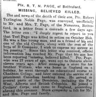 Turlington Page's Obituary, Grantham Journal 25th November 1916  | Courtesy of the Grantham Journal