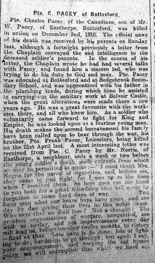 Pte. Charles Pacey of Bottesford - Grantham Journal 6th January 1917 | Courtesy of the Grantham Journal