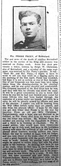 Frank Pacey's obituary, Grantham Journal 13th May 1915 | Courtesy of the Grantham Journal