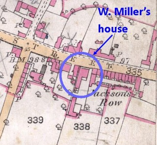 Part of the pre-1900 detailed map of Bottesford, showing the location of the Miller's house and the adjacent terrace known as Jackson's Row. | Botteford Local History Society archive