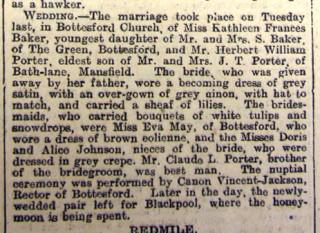 Grantham Journal 5 Feb, 1916 - wedding of Frances Kathleen Baker to Herbert William Porter, 1/2/1916 | Grantham Journal
