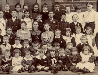 The right hand half of the 1902 Muston School photograph - George Challands is the thoughtful child seen 4th from the right in the second row from the front. | From the collection of Mr Alan Hodgkinson