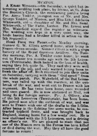 From the Grantham Journal, 15th January, 1916, the wedding of Ethel Whitworth to Amos Tinkler, and the home visit of four Muston soldiers including Amos Tinkler. | Courtesy of the Grantham Journal