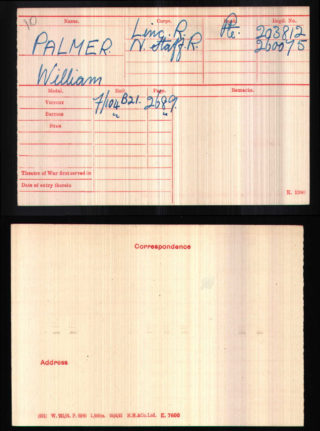 William Palmer's Medal Index Card | National Archive